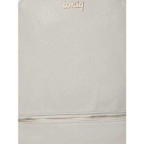 ToniQ Women Grey Textured Backpack