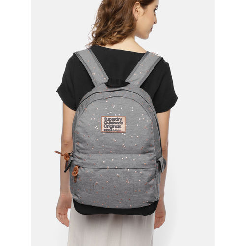 Superdry Women Grey Graphic Printed Backpack