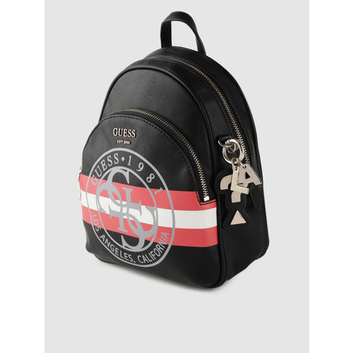 GUESS Women Black & Red Brand Logo Backpack