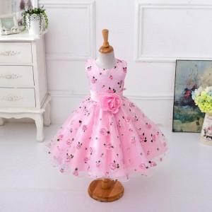 MeiQ Cute Pink Satin Floral Print Flared Party Dress
