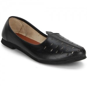 Paduki Black Leather Ethnic Mojaris