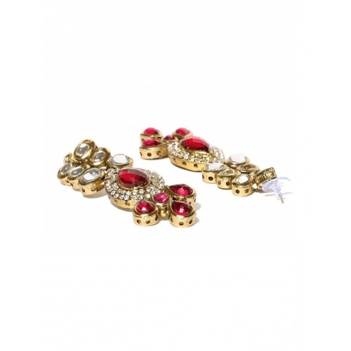 Zaveri Pearls Gold-Toned & Pink Jewellery Set