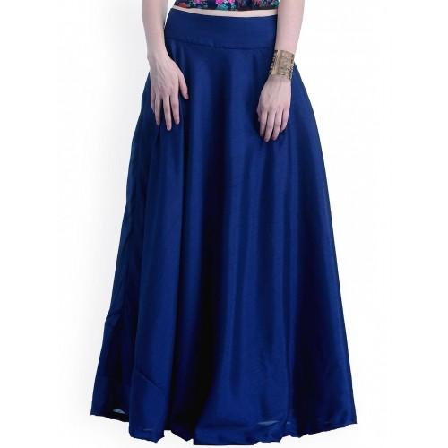 buy faballey indya blue silk plain maxi skirt
