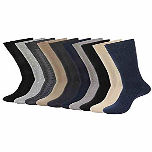 Balenzia Men's Mercerized and Combed Cotton Socks (Multicolour,Free Size) - Combo Pack of 10