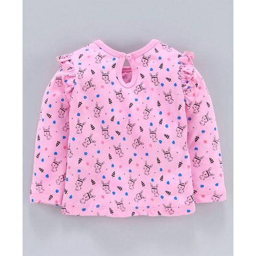 Babyhug Full Sleeves Tee Bunny Print Pack of 2 - Pink Blue