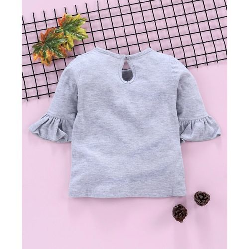 Babyhug Three Fourth Sleeves Top Girl Print - Grey