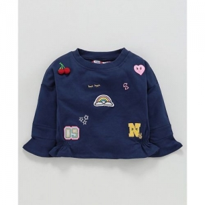 Nauti Nati Rainbow & Heart Patch Full Sleeves Top - Navy Blue