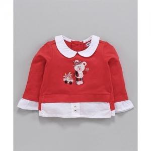 Nauti Nati Teddy Bear Patch Full Sleeves Top - Red & White