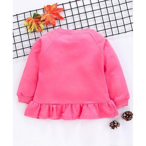 Babyhug Full Sleeves Winter Wear Top Cat Print - Pink