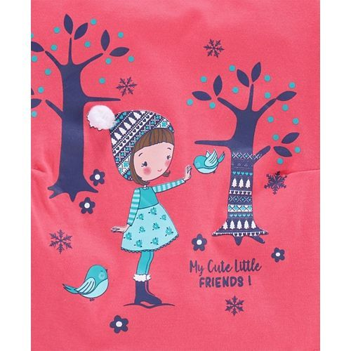 Babyhug Full Sleeves Tee Graphic Print - Pink