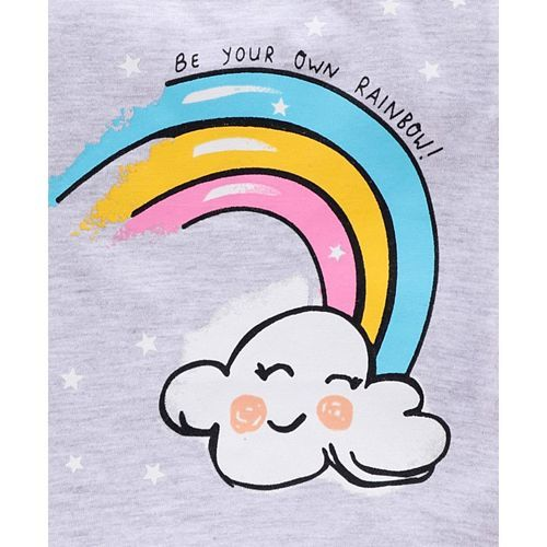 Babyhug Full Sleeves Top Rainbow Print - Grey