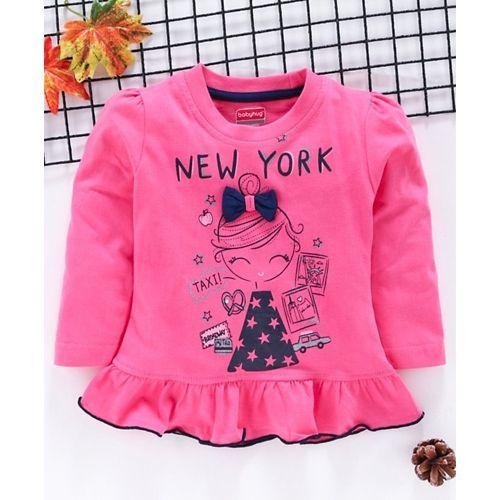 Babyhug Full Sleeves Tee Girl Print With Bow Motif - Pink