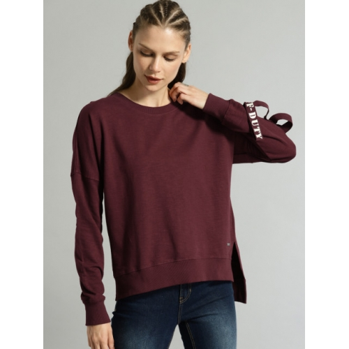 Roadster Women Burgundy Solid Sweatshirt