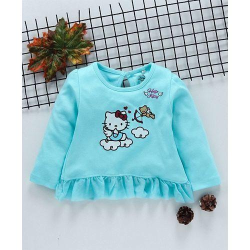 Babyhug Full Sleeves Frilled Top Hello Kitty Print - Sea Green