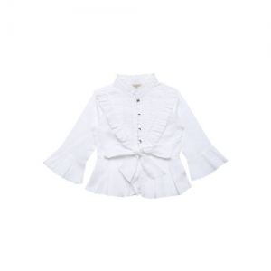 Chirimoya Girls White Cotton Solid Shirt Style Top