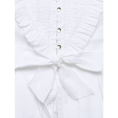 Chirimoya Girls White Cotton Solid Shirt Style Top