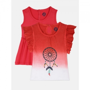 YK Girls Red & White Printed Round Neck Top With Dress