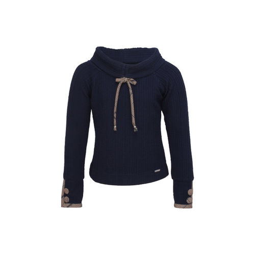 CUTECUMBER Girls Navy Blue & Brown Knitted Winter Top