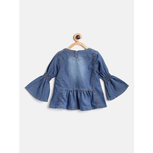 Little Kangaroos Girls Blue Embroidered Faded Denim A-Line Top