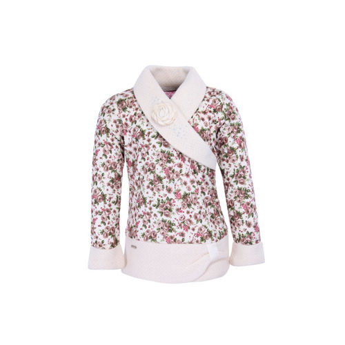 CUTECUMBER Girls Cream-Coloured & Pink Printed Wrap Top