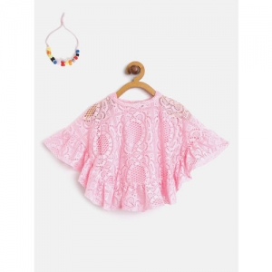 Little Kangaroos Girls Pink Lace Cape Top with Inner & Necklace