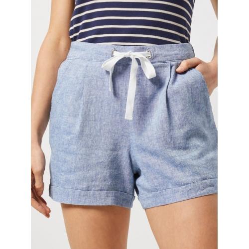DOROTHY PERKINS Blue Linen-Blend Regular Fit Shorts