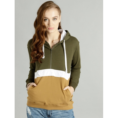 Roadster Women Olive Green & Mustard Brown Colourblocked Hooded Sweatshirt