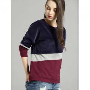Roadster Women Navy & Burgundy Colourblocked Sweatshirt