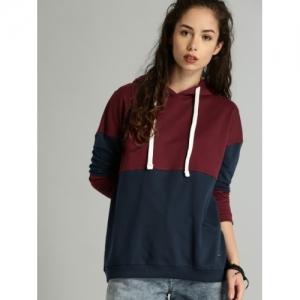 Roadster Women Maroon & Navy Blue Colourblocked Hooded Sweatshirt