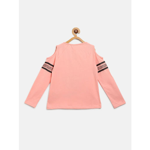 LC Waikiki Girls Peach-Coloured Printed Top