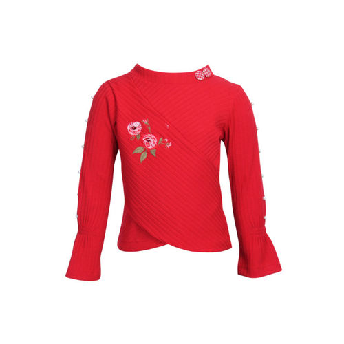 CUTECUMBER Girls Red Embroidered Top