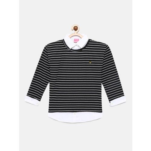 Little Kangaroos Girls Black Striped Shirt Style Top