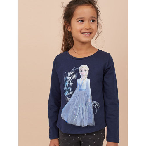H&M Girls Blue Printed Jersey Top with a Motif
