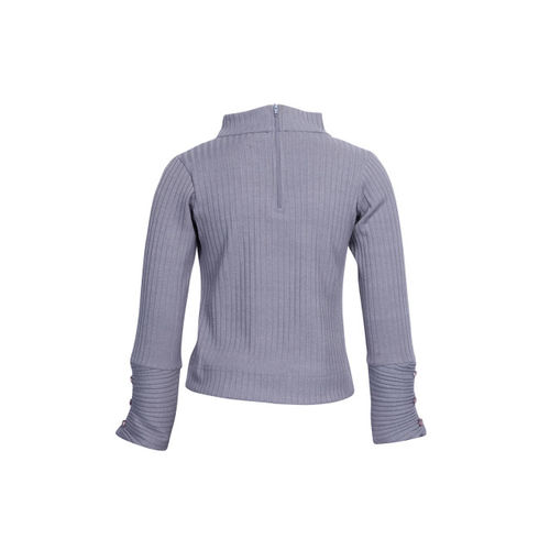 CUTECUMBER Girls Grey Solid Top with Applique Detail