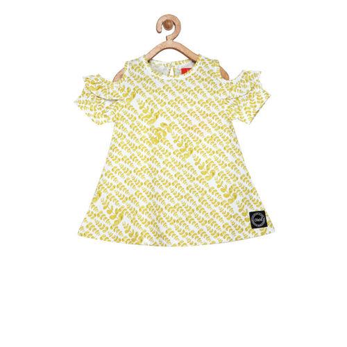 Olele Girls Yellow Printed A-Line Top