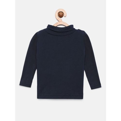 Gini and Jony Girls Navy Blue Solid Skinny Top