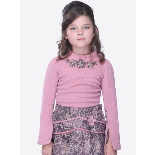 CUTECUMBER Girls Pink Solid Embellished Top