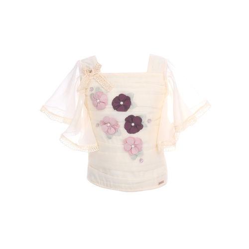 CUTECUMBER Girls Beige Embellished Top