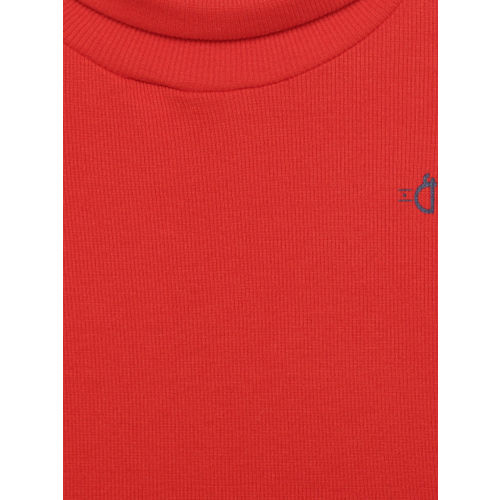 Gini and Jony Girls Red Solid Skivvy Top