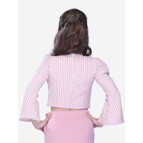 CUTECUMBER Girls Pink Checked Top