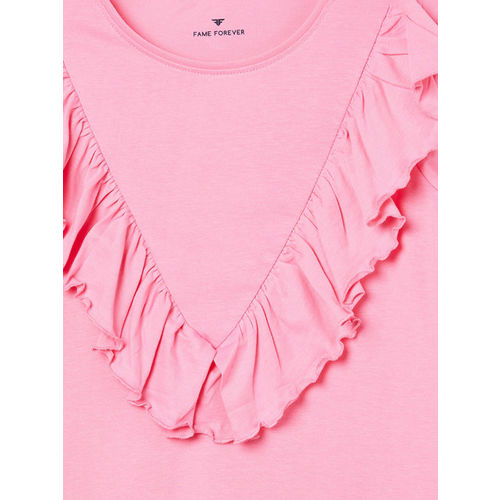 Fame Forever by Lifestyle Girls Pink Solid Top with Ruffle Detail