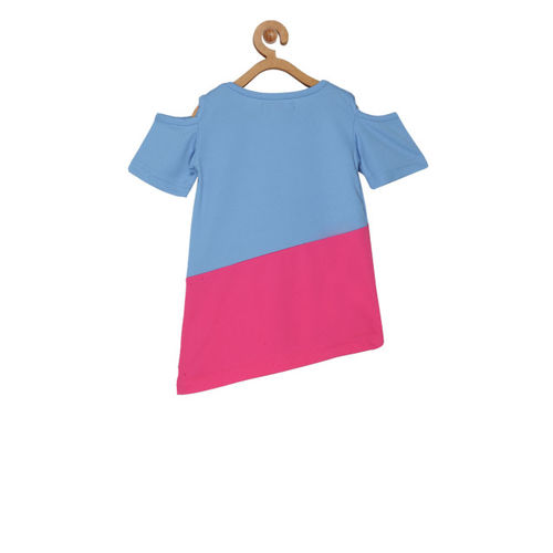 Olele Girls Blue & Pink Colourblocked A-Line Top