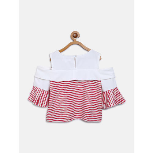 Natilene Girls White & Red Self Striped Cold Shoulder Top