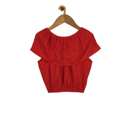 Shreem Kids Girls Red Solid Blouson Top
