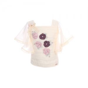 CUTECUMBER Girls Beige Floral Embellished Top