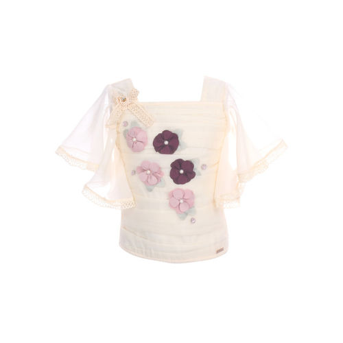 CUTECUMBER Girls Beige Floral Embellished Top