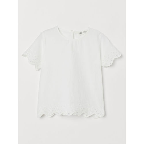 H&M Girls White Top With Broderie Anglaise