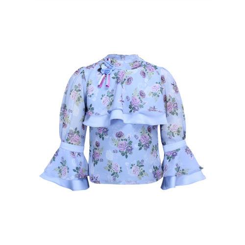 CUTECUMBER Girls Blue & Purple Printed Top