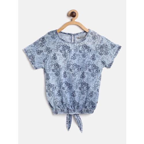 Palm Tree Girls Blue Floral Print Blouson Top