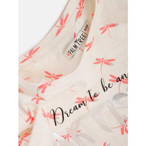 Palm Tree Girls White Peach-Coloured Printed Top